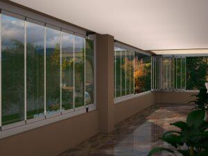 וילון זכוכית למרפסת
